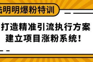 陆明明爆粉特训3月28号:打造精准引流执行方案,建立项目涨粉系统!