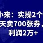 最新赚钱项目:实操2个月,每天卖700张券,月利润2万+
